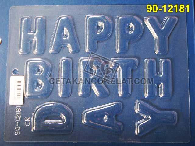 Cetakan Coklat 90-12161 huruf abjad alfabet happy birthday