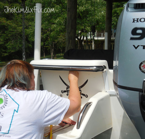 Applying boat name decal