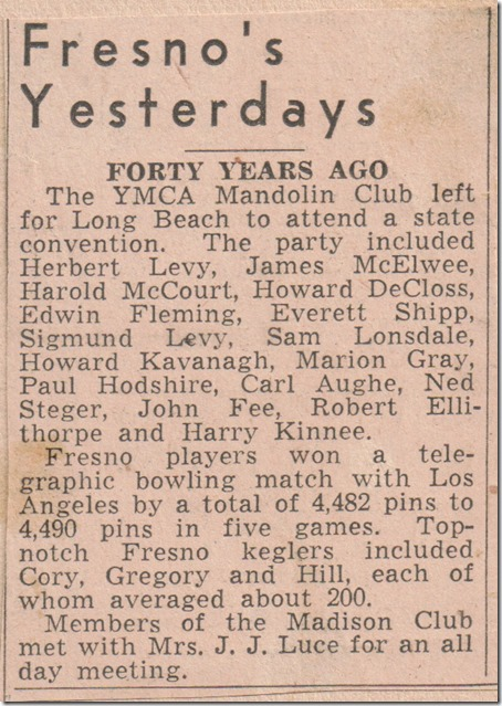 Forty Years Ago Mandolin Club