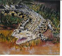 """Element - Erde: Krokodil"", Öl auf Leinwand, 42x26, 2003"