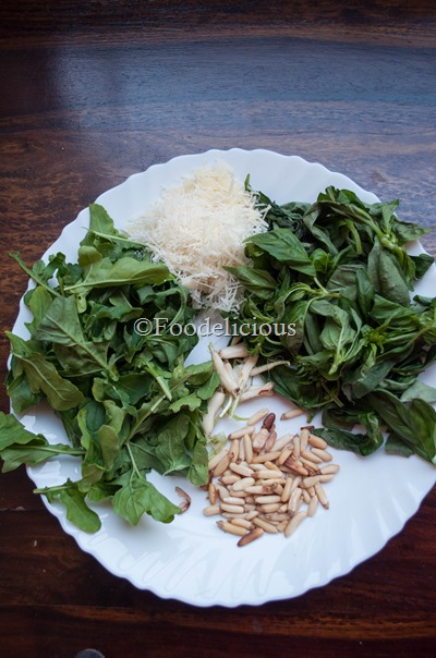 Ingredients For Arugula Basil Pesto