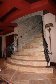 Architecture, Interior, Stair Risers, Staircases, Stasir Treads, Travertine