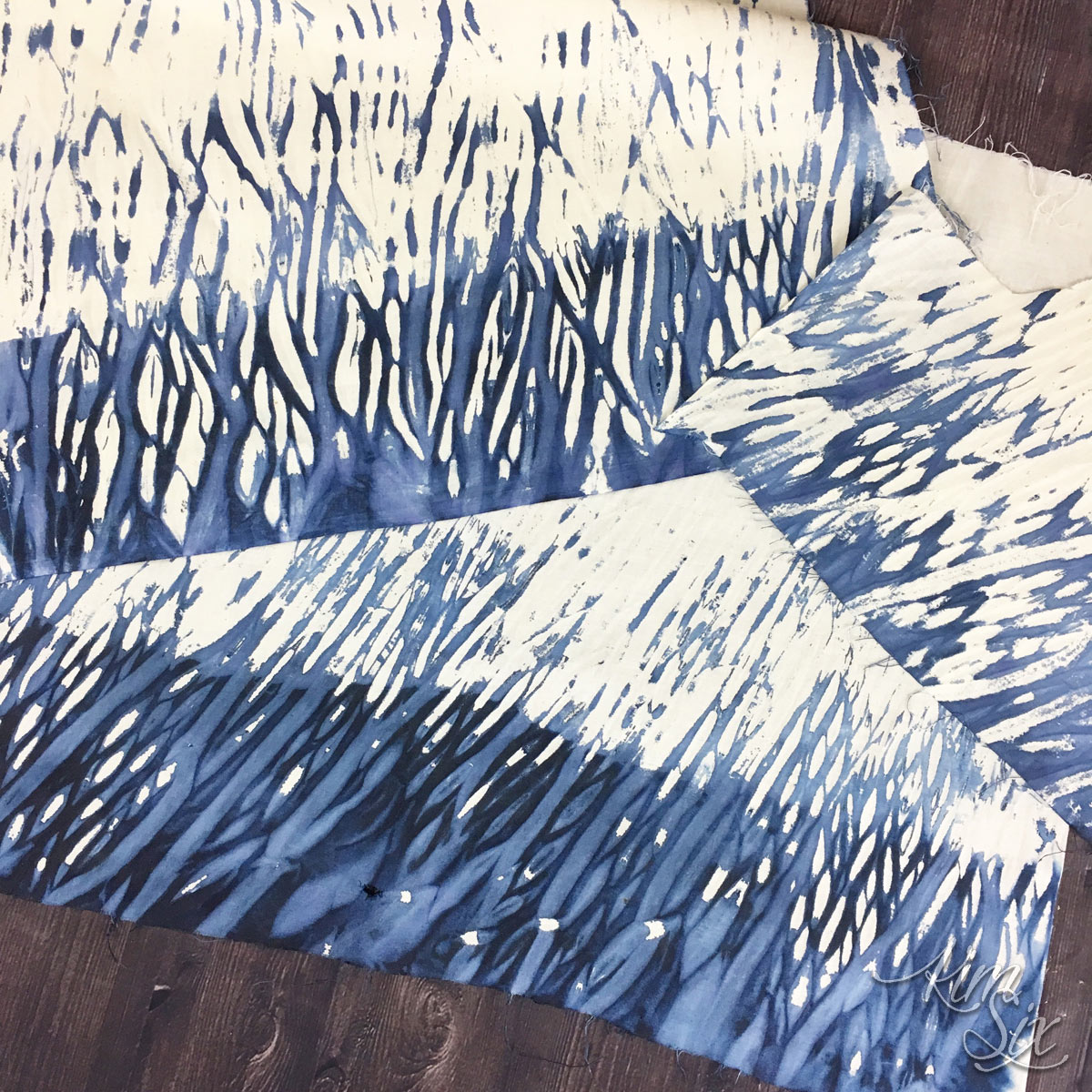 Shibori dyed wrapped fabric
