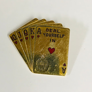 14K Gold & Diamond Royal Flush Pin