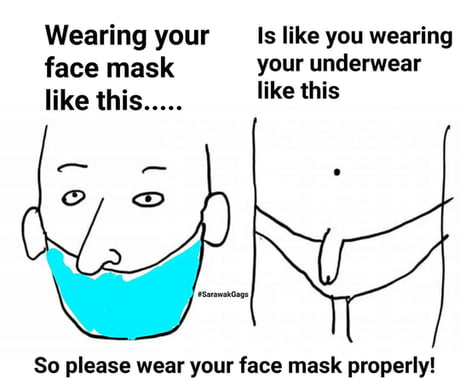 """Left side is a drawing of man's face with a mask over his mouth and his nose hanging out over the mask. The right sight is a drawing of a man wearing underwear with his penis hanging out over the top of the underwear. The caption reads """"Wearing your face mask like this...is like wearing your underwear like this."""""""