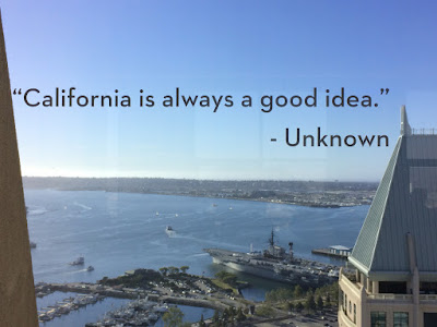 "Tekst på et vindu som sier: ""California is always a good idea""."