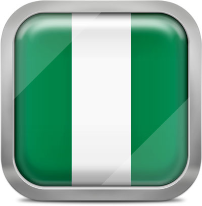 Nigeria square flag with metallic frame