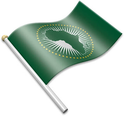 The African flag on a flagpole clipart image