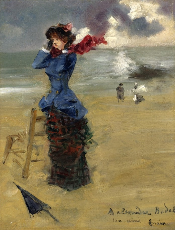 Jean-Louis Forain - Elegant Woman on the Beach