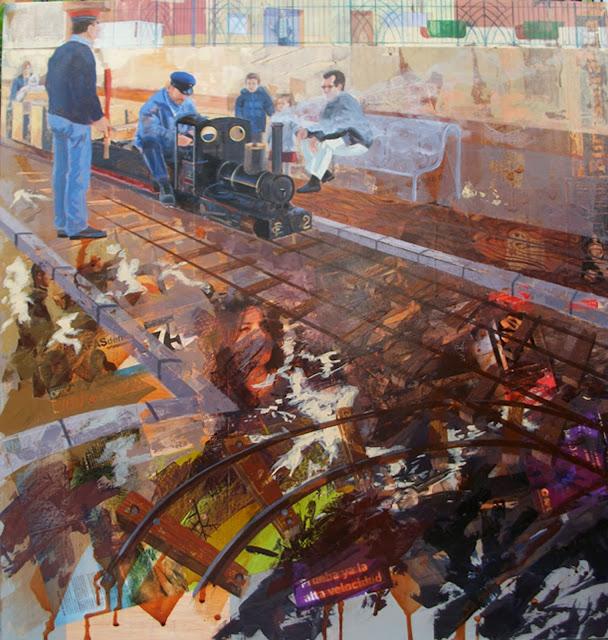El trenecito,obra en técnica mixta del pintor Jose Miguel Alguer Romero