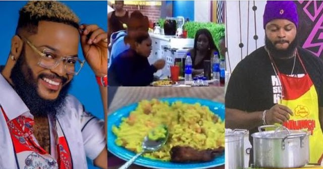"""#BBNaija2021: """"This food can take you out of depression"""" — Housemates praise White Money's cooking skills (video)"""