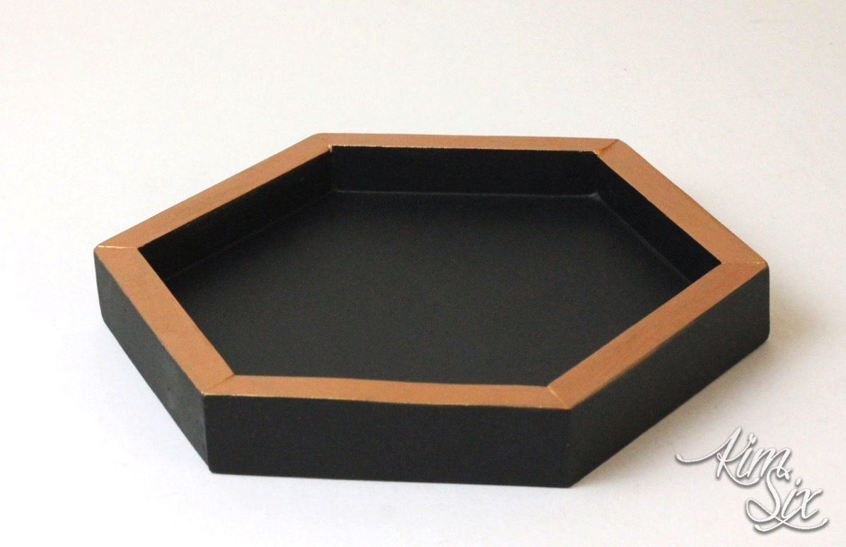 Heaxagon wooden tray