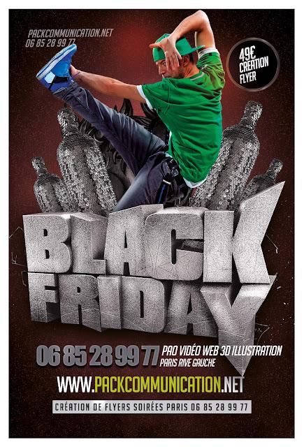création flyers soirées thème Black Friday