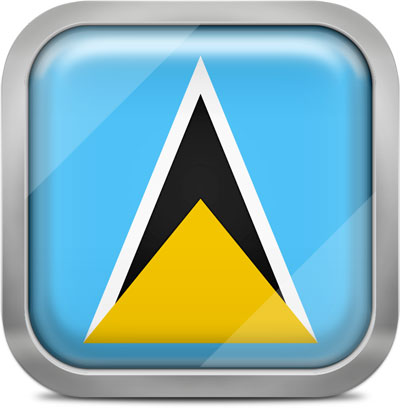 Saint Lucia square flag with metallic frame