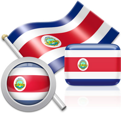 Costa Rican flag icons pictures collection