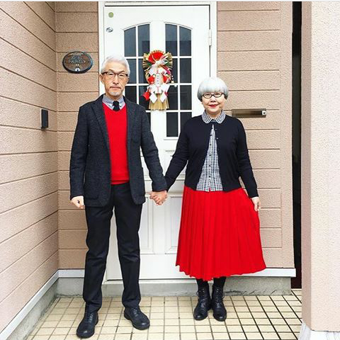 Japanese Couple Wearing Matching Outfit for 37 Years