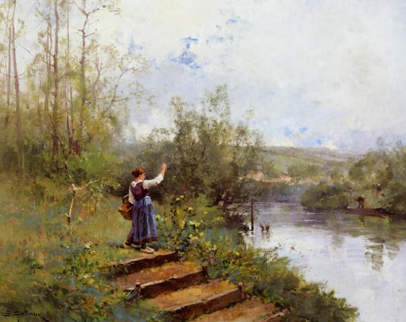 Eugène Galien-Laloue - Paysanne au bord de la riviere