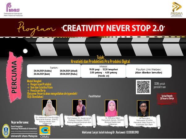 """Program Bengkel """"Creativity Never Stop 2.0"""": Bengkel Pra Produksi dan Produktiviti Digital Memberi Input Bagi Bakal Penulis Skrip dan Karya Seni"""