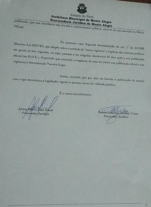 LEI SOBRE DATA COMEMORATIVA CAUSA POLÊMICA ENTRE SERVIDORES PÚBLICOS DE MONTE ALEGRE, NO PARÁ.