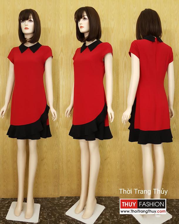 Váy suông công sở phối bèo chân váy V584 tại Hải Phòng