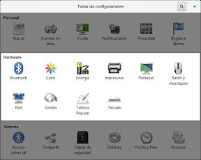 Configurar el hardware en GNOME. Herramientas.