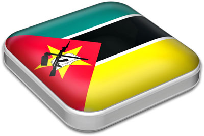 Flag of Mozambique with metallic square frame