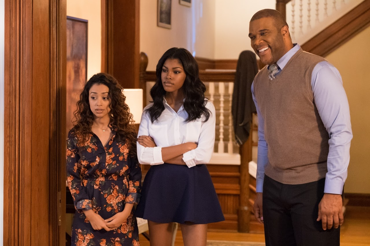 Aday (Liza Koshy, left), Tiffany (Diamond White, center) and Brian (Tyler Perry, right) in BOO! A MADEA HALLOWEEN. (Photo by Eli Joshua / Lionsgate).