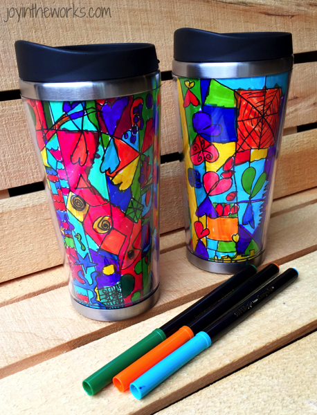 abstract marker art on coffee mug