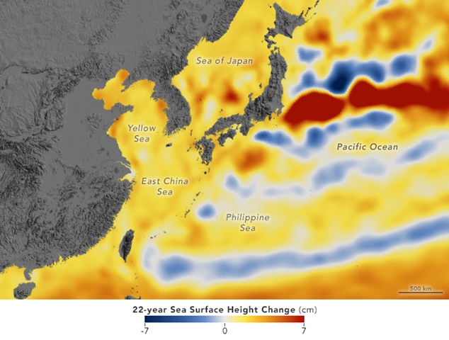 Map the western Pacific Ocean showing the change in sea surface height over the 22-year span, 1992-2014. Graphic: Kel Elkins / NASA Earth Observatory