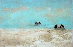 184 - L'accostage - 2007 41 x 27 - Aquarelle sur sable sur toile
