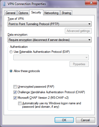 Setup VPN - Security Property