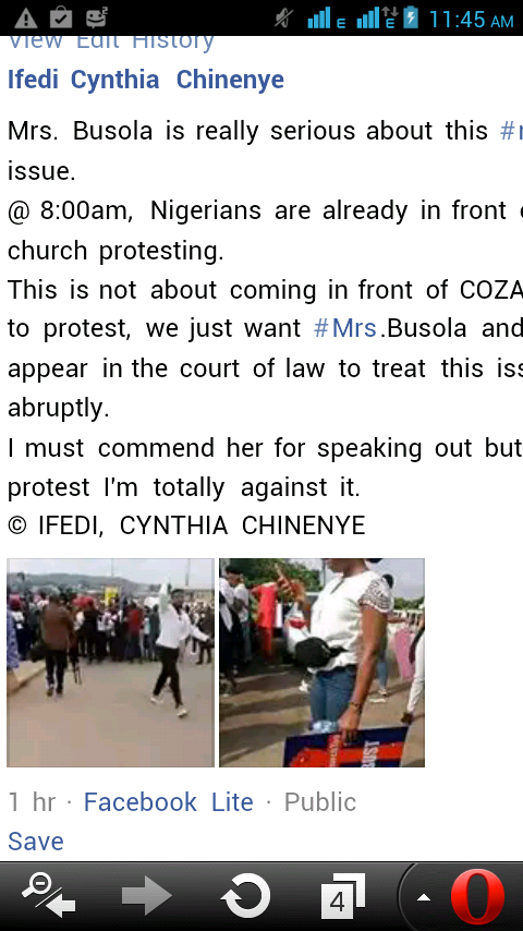 at 8:00am This Morning Mrs Busola Stormed with Protesters in Coza Pastor'sChurchT