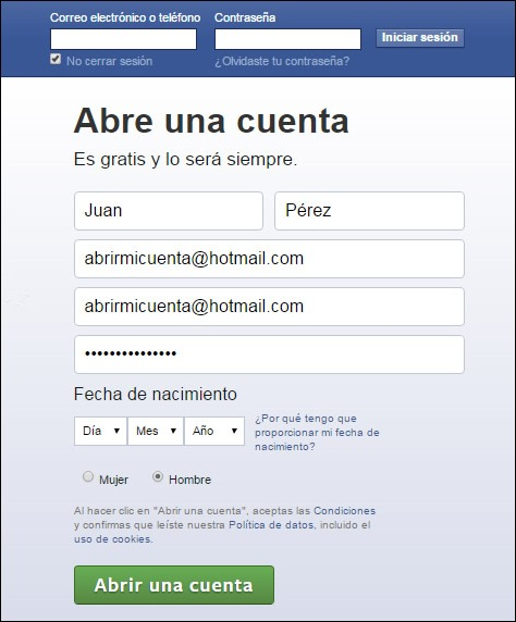 Abrir mi cuenta Facebook - Registrarse