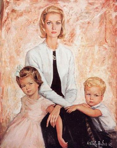 Princesa Grece Kelly con sus hijos Carolina y Alberto 1960