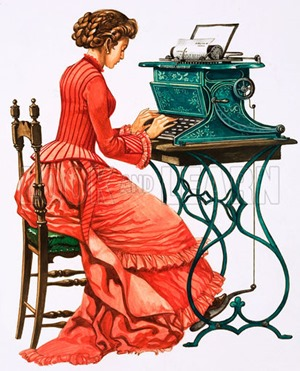 Victorian female secretary at type writer.  Original artwork for issue 3030 of Treasure.