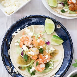 Shrimp Tacos with Garlic Avocado Crema
