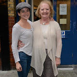 WWW.ENTSIMAGES.COM -    Sarah Greene and June  Watson   arriving for their evening performance in  The Cripple of  Inishmaan  at Noel Coward Theatre Leicester Square  London August 17th 2013       Photo Mobis Photos/OIC 0203 174 1069