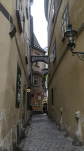 Alley leading to restaurant