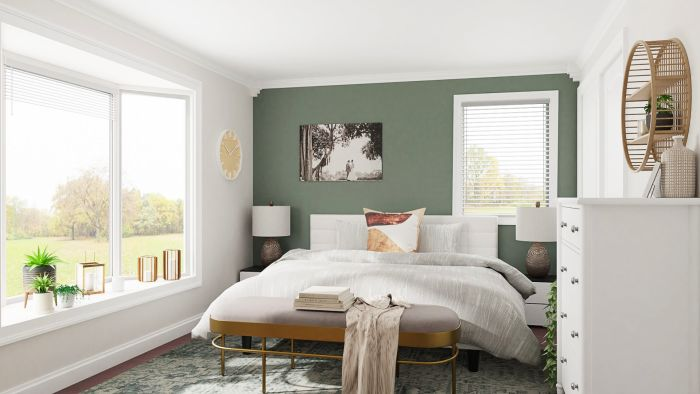 Brighten Up Your Bedroom with Green and White Color