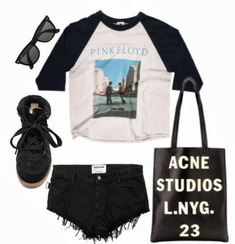 Acne metallic leather Tote, Isabel Marant Sneaker black, Mini Short Zadig and Voltaire, Ray Ban Wayfarer, Vintage pink Floyd Baseball Tee Oneteaspoon, Modedesign