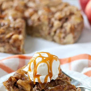 Slow Cooker Apple Bread Pudding with Salted Caramel Drizzle.