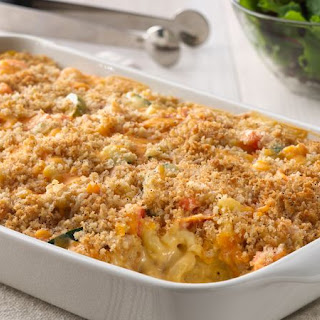 Macaroni and Cheesy Chicken Baked Casserole.