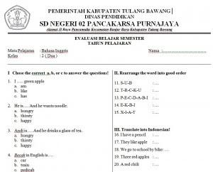 Soal Ujian Bahasa Inggris Kelas 5 Sd Mi Semester 1 2 Melihat Net