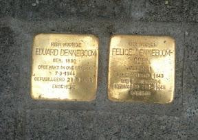 Eduard Denneboom en Felice Denneboom-Cohn - Waldeckstraat 38. Stolpersteine Enschede.