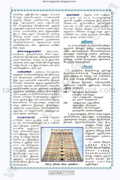 Thulam Guru Peyarchi Palan for 2015-2016