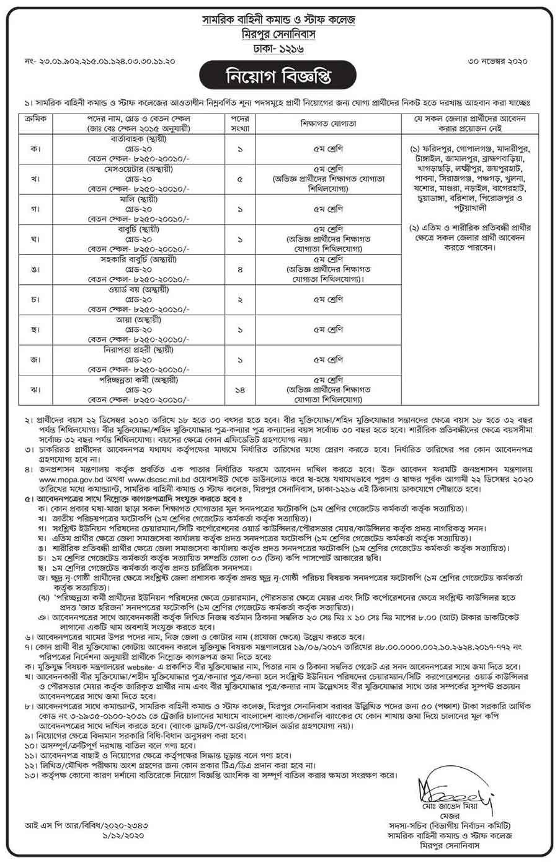 সামরিক বাহিনী কমান্ড ও স্টাফ কলেজ নিয়োগ বিজ্ঞপ্তি ২০২১ - সামরিক বাহিনী কমান্ড ও স্টাফ কলেজ নিয়োগ বিজ্ঞপ্তি 2021