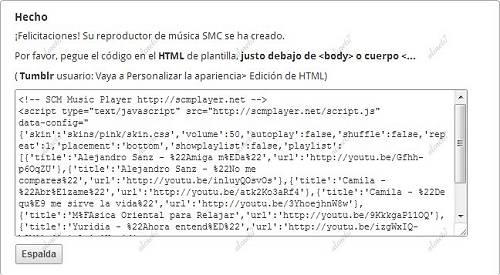Copiar y pegar el código del Reproductor de Música para tu Blog o Página Web