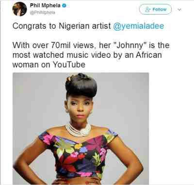 Yemi Alade's 'Johnny' Is The Most Watched Video By An African Woman On Youtube!