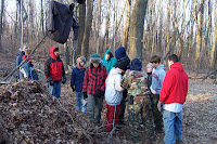 We learned to make shelter in the cold woods