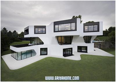 Desain rumah minimalis sederhana geometris tiga tingkat